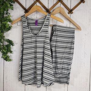 3//$20 grey striped pajama set matching